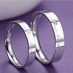Ringen Bruiloft / Feest / Dagelijks Sieraden Sterling zilver Dames / Heren / Echtpaar Ringen voor stelletjes 2 stuks,15 Zilver