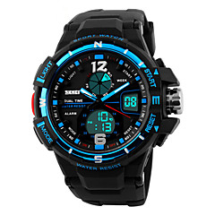 Skmei® Men's Big Size Dial Dual Time Zone Outdoor Sports Multifunction Wrist Watch 30m Waterproof Assorted Colors