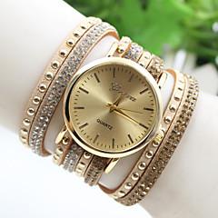 Mulheres Relógio de Moda Bracele Relógio Quartzo Couro Banda Preta Branco Vermelho Dourada