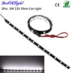 youoklight® 2 개 5w 12V 30cm는 DRL 100 % 방수 5050 SMD 자동차 자동차 장식 유연한 LED 스트립 안개 램프를 주도