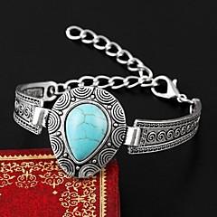 European Style Elegant Vintage Turquoise Water Drop Shape Charm Bracelet Bangle