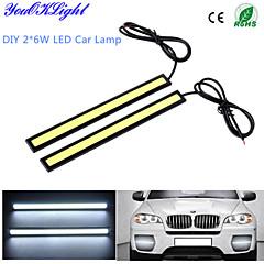 youoklight® 2-delige waterdichte high power 6W 6000k cob LED DRL dagrijlichten voor alle voertuigen met 12v