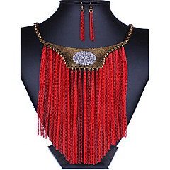 MPL European and American fashion gold tassel exaggerated Crystal Necklace Earrings Set