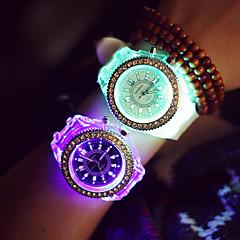 Mulheres Relógio Esportivo Quartzo LED Silicone Banda Brilhante Preta Branco Branco Preto