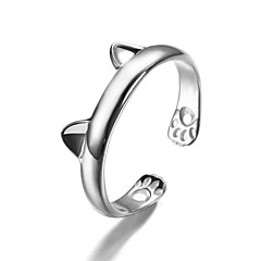 Lureme®  Korean Fashion 925  Sterling Silver Hypoallergenic Cat Ears Cuff Rings