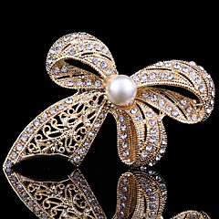 κρύσταλλο χαριτωμένο bowknot μαργαριτάρι καρφίτσα γυναικών για διακόσμηση γαμήλιο γλέντι κασκόλ, κοσμήματα