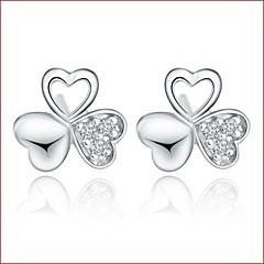 925 Silver Sterling Silver Jewelry Earrings Sample Clover Zircon Stud Earring 1Pair