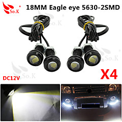 4X 9W LED Eagle Eye Light Car Fog DRL Daytime Reverse Backup Parking Signal black 12V