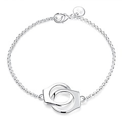Fashion Sweet Women's Handcruffs Silver Plated Brass Chain & Link Bracelets(Silver)(1Pc) Christmas Gifts