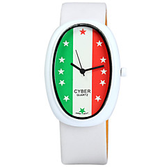 Unisex Italian Flag Pattern Japan Quartz Watch Leather Band Oval Dial Wristwatch - WHITE