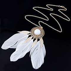 Women's New Women Hot Fashion Popular Feather Tassel Long Chain Necklace