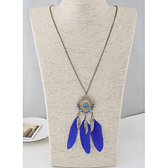 Women's Hot New Bohemia Fashion Metal Leaf Blue Feather Long Necklace