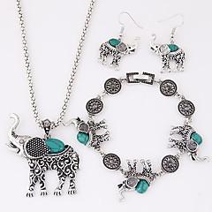 Σετ Κοσμημάτων χαριτωμένο στυλ Ευρωπαϊκό κοσμήματα πολυτελείας Ρητίνη Τυρκουάζ Κράμα Animal Shape Ελέφαντας Μαύρο Κόκκινο ΜπλεΚολιέ