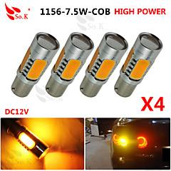 4x gelb hohe Leistung BAU15S 1156py 7.5W Schwanz Bremssignal LED-Lampen 7507