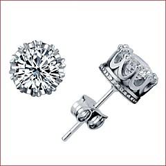 Kolczyki na sztyft Srebro standardowe Cyrkon Crown Shape Silver Biżuteria Na Ślub Impreza Codzienny Casual Sport 1szt