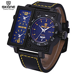 SKONE® Men's Multi-function Sport Watches Fashion PU Band Quartz Wrist Watches with Complete Calendar Function Jewelry Cool Watch Unique Watch