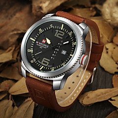 Muškarci Ručni satovi s mehanizmom za navijanje Japanski kvarc Kalendar / Vodootpornost Koža Grupa Crna / Smeđa Brand-