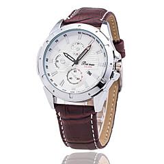 Xu™ Men's Wrist watch Calendar Quartz Leather Band Black Brown