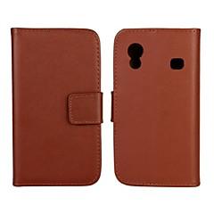 Na Samsung Galaxy Etui Portfel / Etui na karty / Z podpórką / Flip Kılıf Futerał Kılıf Jeden kolor Skóra PU Samsung Ace