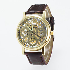 Masculino Mulheres Unissex Relógio Esqueleto Quartzo PU Banda Preta Marrom