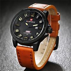 NAVIFORCE Herren Armbanduhr Quartz Japanischer Quartz Kalender Leder Band Schwarz Braun Schwarz Braun Rot
