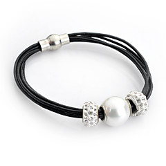 Lureme® Elegant Style Pearl with Crystal Multilayer Leather Chain Magnet Clasp Bracelet for Women and Girl