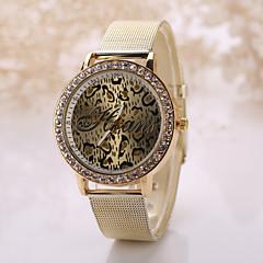Herre Dame Unisex Modeur Simuleret Diamant Ur Quartz Imiteret Diamant Legering Bånd Leopard Guld Gylden