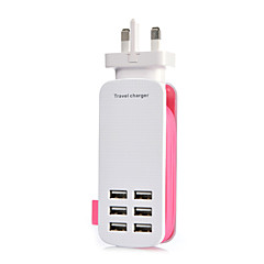 UK Plug 6Port USB Charger Socket Lightningproof Anti Overloading 5V 6A Length of Rope:1.4M (Assorted Colors)