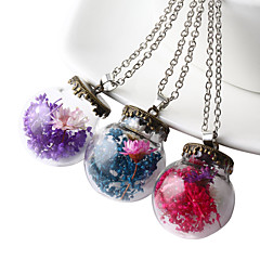HUALUO®Vintage glass ball pendant sweater accessories plants dried flowers