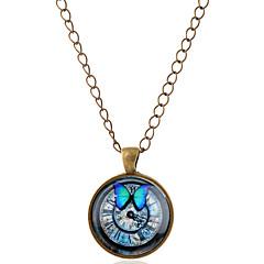 Męskie Damskie Dla par Naszyjniki z wisiorkami Animal Shape Motyl Kamień szlachetny Szkło Stop minimalistyczny styl Silver Bronze