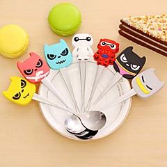 Kawaii Stainless Steel Silicone Cartoon Character Spoon Children Kid  Soup Coffee Spoon Dinnerware