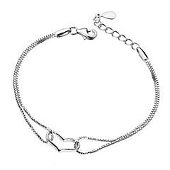 Women's Bracelet Sterling Silver Plated Sample Heart Chain Bracelet Wedding for Bride