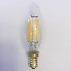 1 pç kwb E14 5W / 6W 6 COB 600 lm Branco Quente C35 edison Vintage Lâmpadas de Filamento de LED AC 220-240 V