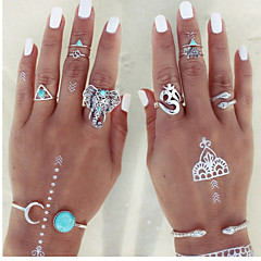 8pcs Vintage Antique Silver Elephant Midi Adjustable Rings Jewelry for Lady