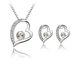 Fashion Elegant Heart Wish Foreve Shiny Rhinestone Necklace Earrings Set