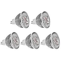 5W GU5.3(MR16) Spot LED MR16 4 LED Haute Puissance 270 lm Blanc Chaud DC 12 V 5 pièces