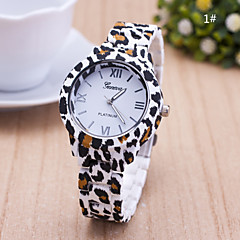 Dame Modeur Quartz Plastik Bånd Blomst Leopard Mangefarvet 1# 2# 3# 4# 5#