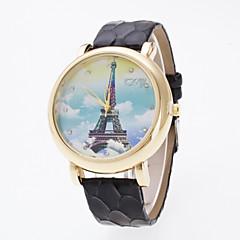 Dames Modieus horloge Kwarts PU Band Eiffeltoren Zwart Wit Blauw Rood Bruin Paars Kaki Paars Bruin Rood Lichtblauw Khaki