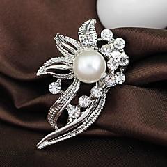 Bröllop Style Elegant Silverpläterad Rhinestone Brosch (Random färg)