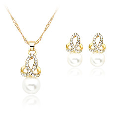 Lucky Doll Alloy / Imitation Pearl / Rhinestone / Rose Gold Plated Jewelry Set Necklace/Earrings Wedding / Party / Daily