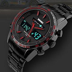 SKMEI® Men's Dual Time Display Analog-Digital Black Stainless Steel Sports Watch Cool Watch Unique Watch Fashion Watch
