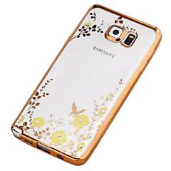 Voor Samsung Galaxy Note Strass / Beplating / Transparant / Patroon hoesje Achterkantje hoesje Bloem TPU Samsung Note 5 / Note 4 / Note 3