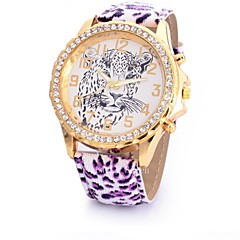 Women's Fashion Watch Simulated Diamond Watch Quartz Leather Band Leopard Multi-Colored