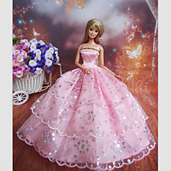 Barbie Doll Holiday Party Princess Dress with Pink Beading