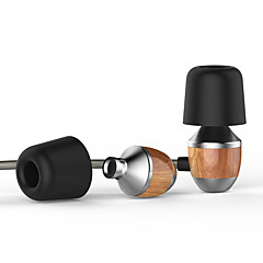 vjjb k4s præmie ægte træ corded in-ear hovedtelefoner tung bas støjreducerende til smartphone med mikrofon