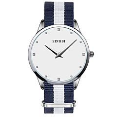 SINOBI Dames Modieus horloge Kwarts Waterbestendig Stof Band Blauw Wit