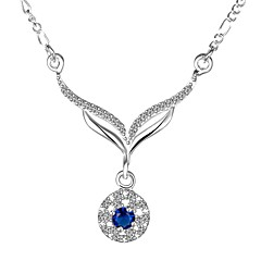 Elegant Style 925 sterling silver Round with Zircon Pendant Necklace for Women