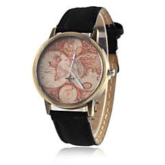 Heren Modieus horloge Polshorloge Kwarts / PU Band Vintage Cool Vrijetijdsschoenen World Map Patroon Zwart Geel Bruin Rood Groen Blauw