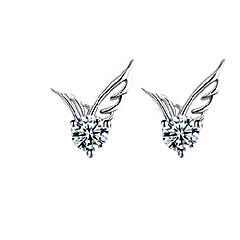 Κουμπωτά Σκουλαρίκια Μοντέρνα χαριτωμένο στυλ Κρύσταλλο Επάργυρο Φτερά / Φτερό Ασημί Κοσμήματα Για Γάμου Πάρτι Καθημερινά Causal 2pcs