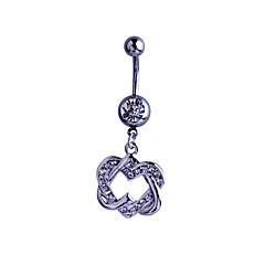 Dame Kropssmykker Navleringe Sølv Imitation Diamond Hjerteformet Sølv Smykker Daglig Afslappet 1 Stk.